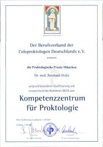 Certificate Competence Center Proctology