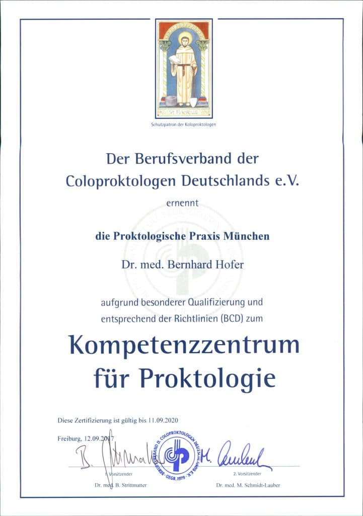Urkunde Kompetenzzentrum Proktologie