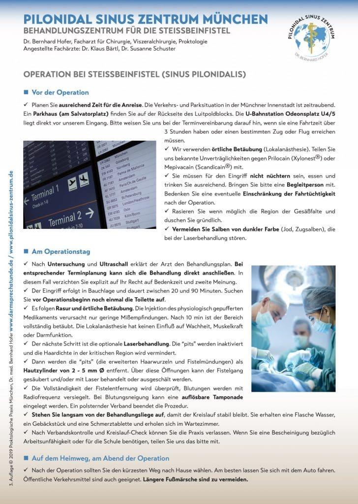 Info Flyer zur Behandlung der Steißbeinfistel
