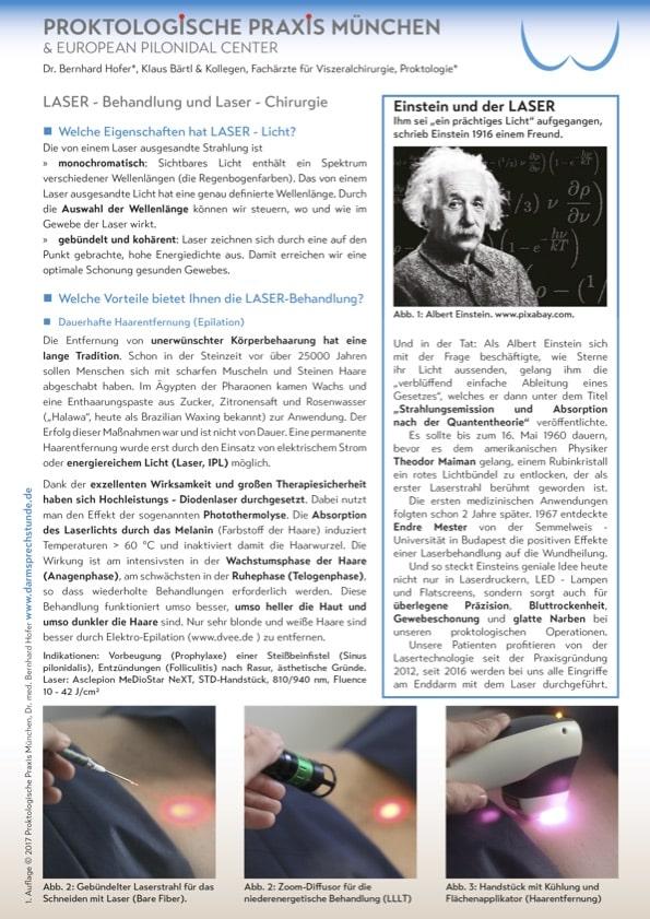 Informationsflyer zur Laser Technologie und Anwendung bei Steißbeinfistel, Haarentfernung, Hämorrhoiden und Varizen