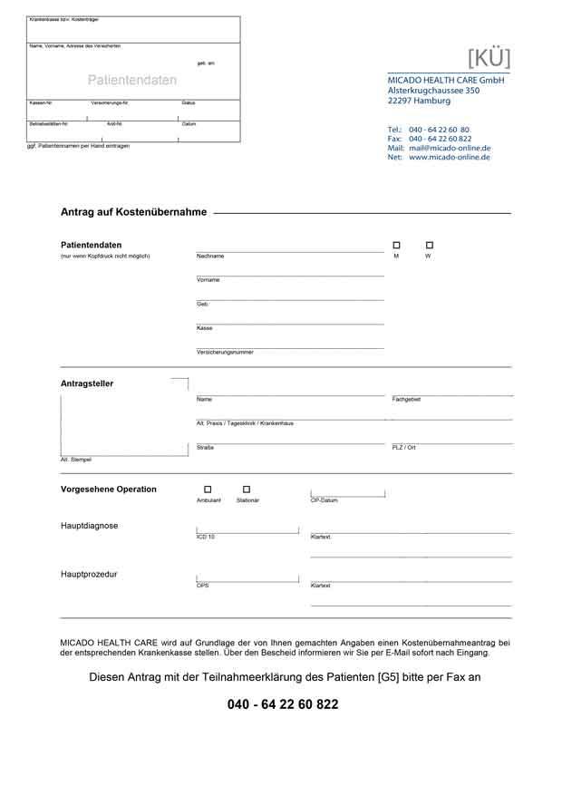 Antrag Kostenübernahme im Rahmen der Integrierten Versorgung Thumbnail